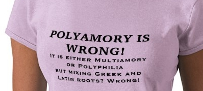"""Polyamory is wrong"" t-shirt"